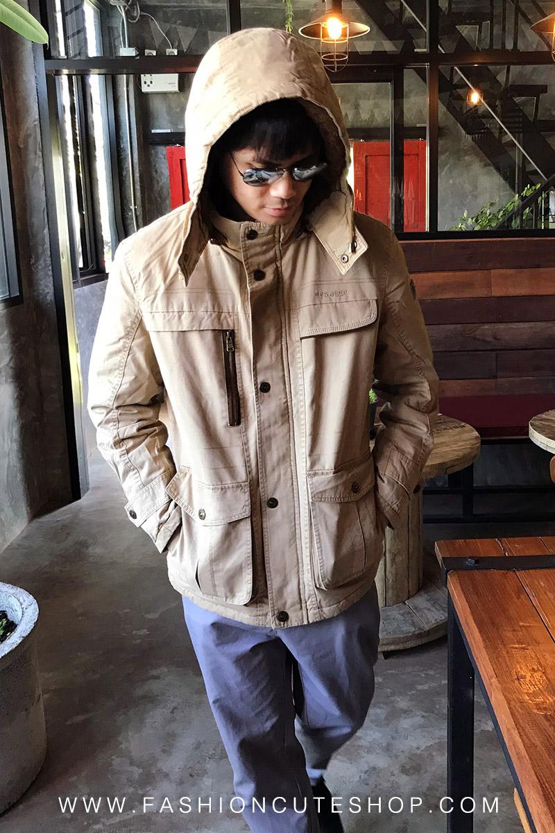 เสื้อกันหนาวผู้ชาย เสื้อแจ็คเก็ตผู้ชายมีฮู้ด ถอดได้ สีกรมท่า คอปีน ซับขนสัตว์ เท่ๆ