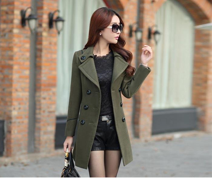 เสื้อโค้ทกันหนาวผู้หญิง สีเขียวทหาร คอปก ตัวยาวคลุมสะโพก มีเข็มขัด
