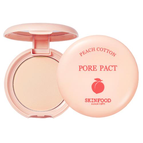 พร้อมส่ง Skinfood Peach Cotton Pore Pact 9g. แป้งพัฟอัดแข็งไม่ผสมรองพื้น ที่มีส่วนผสมสารสกัดจากลูกพีช เนื้อบางเบาโปร่งแสง เข้าได้กับทุกสีผิว ช่วยดูดซับและควบคุมความมันได้ดีเยี่ยม