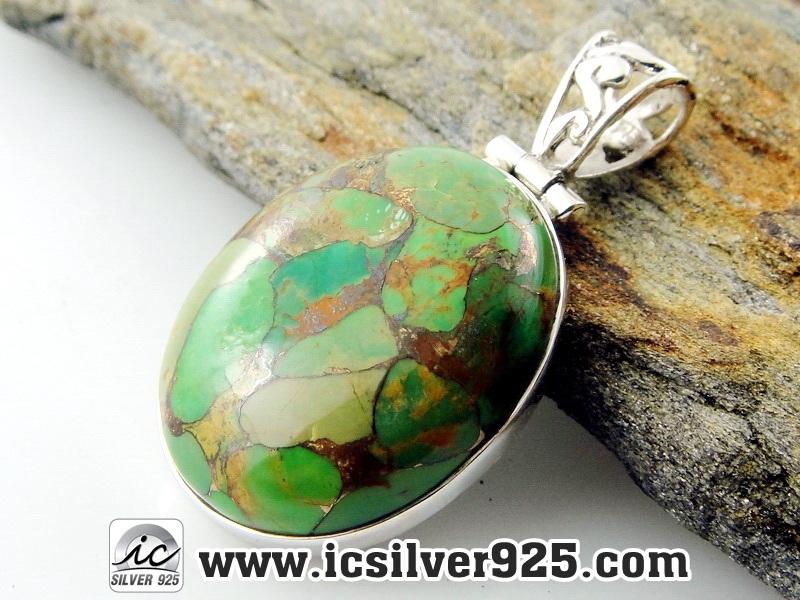 ▽เทอร์ควอยซ์ทองแดง - Copper Green Turquoise - จี้เงินแท้ 925 -(8.1g)
