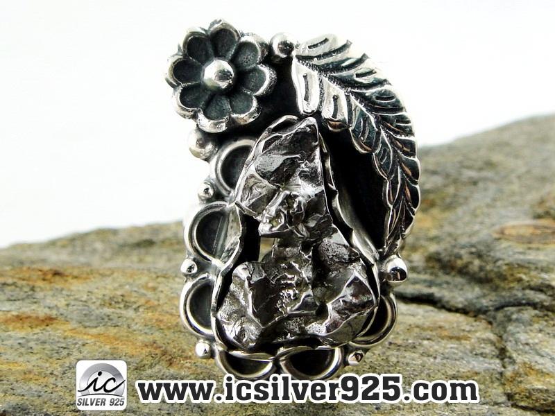 ▽Campo Del Cielo Meteorite แหวนเงินแท้ 925 (แหวนเบอร์ : 55 ,10.4g)