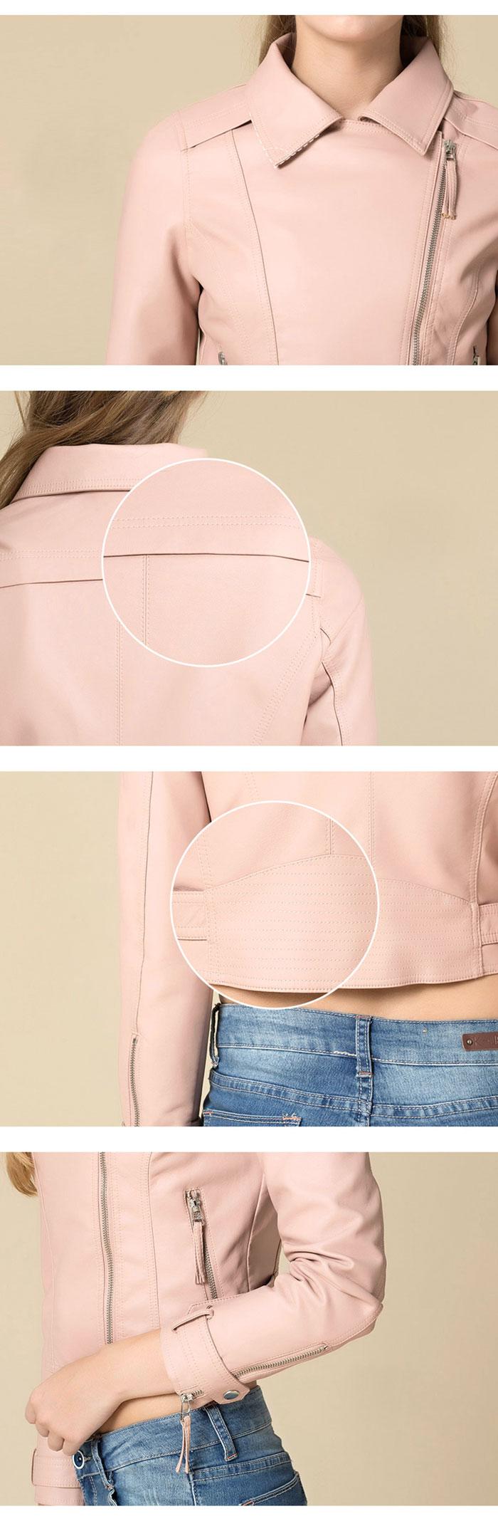 เสื้อแจ็คเก็ตหนังผู้หญิง แฟชั่นเกาหลี สีชมพู แจ็คเก็ตหนัง PU ตัวสั้น คอปก ชิคๆ คูลๆ