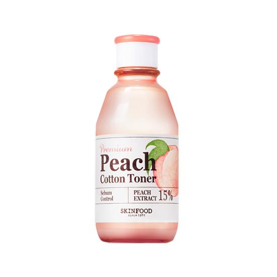 พร้อมส่ง Skinfood Premium Peach Cotton Toner 175ml. โทนเนอร์บำรุงผิว สารบำรุงจาก Peach Extract พีชสกัดเข้มข้น 15% ช่วยลดและควบคุม ดูดซับความมันส่วนเกิน กระชับรูขุมขนเล็กลง