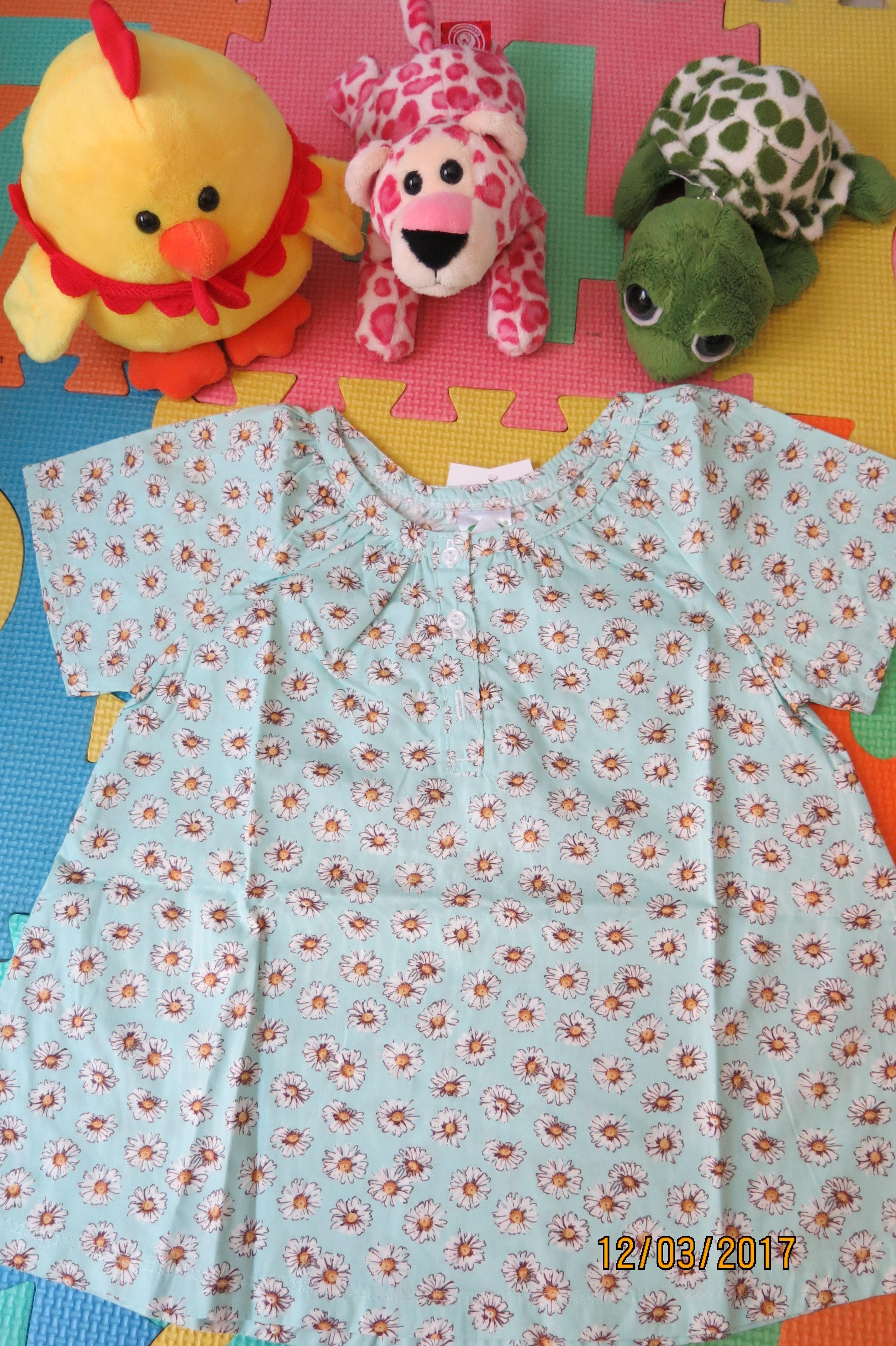 เสื้อเด็ก D4 (3-4 ขวบ) ลายดอกไม้สีเขียว