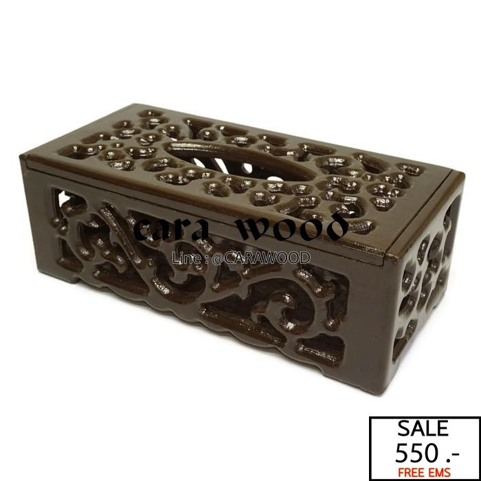 กล่องทิชชู่ฉลุ ไม้สักทอง สีโอ๊ค