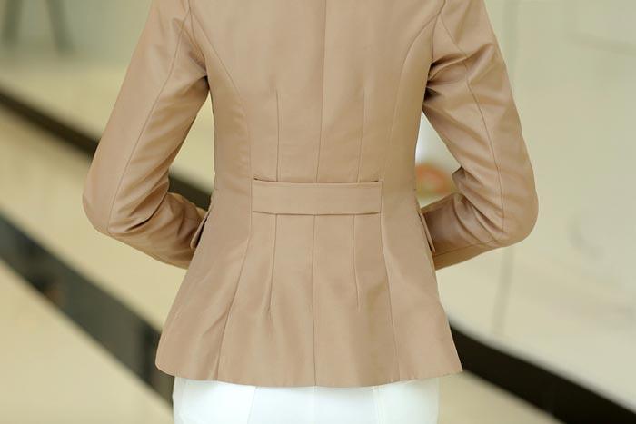 เสื้อสูทผู้หญิง เสื้อสูทแฟชั่น สีกากี แขนยาว คอปก เนื้อผ้ามันวาว เนี๊ยบๆ