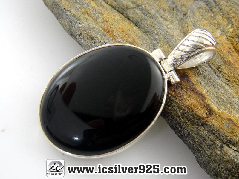 ▽โอนิกซ์ดำ (Black Onyx)-จี้เงินแท้ 925 - (5.6g)