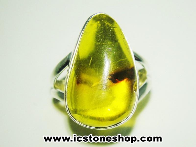 ▽อำพันโคลัมเบีย Amber - แหวนหูเงินแท้ 925 (ขนาดแหวนเบอร์ : 55 ,3.9g)