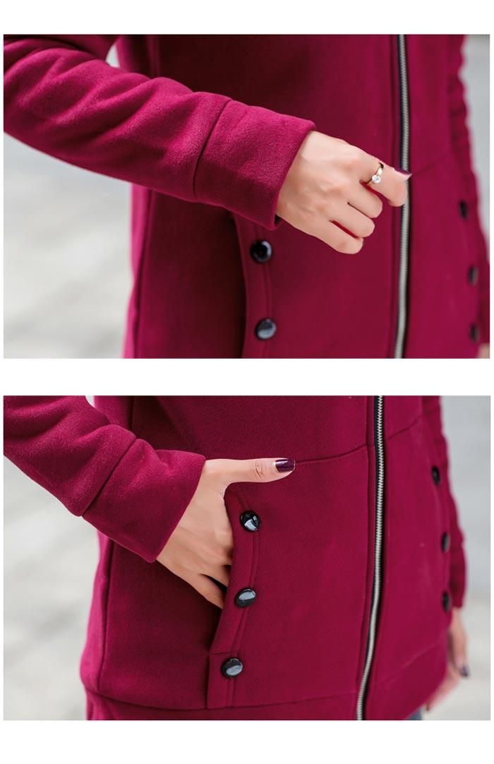 เสื้อกันหนาวผู้หญิงแฟชั่นเกาหลี สีไวน์แดง แจ็คเก็ตมีฮู้ด ซับบุขนสัตว์