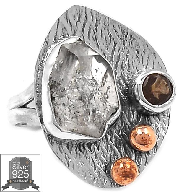 ▽แหวนเงินแท้ 925 - HERKIMER DIAMOND & SMOKY TOPAZ (size 7)