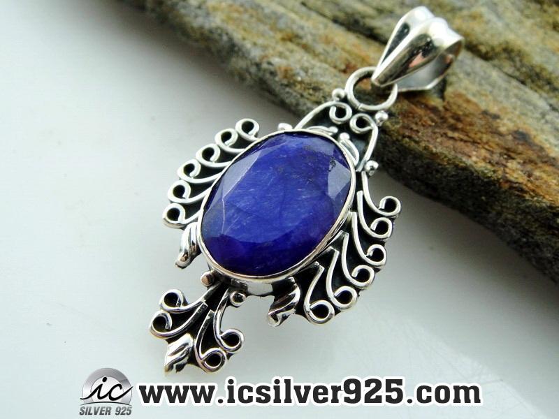 ▽ไพลิน Indian Sapphire- จี้เงินแท้ 925 (4.2g)