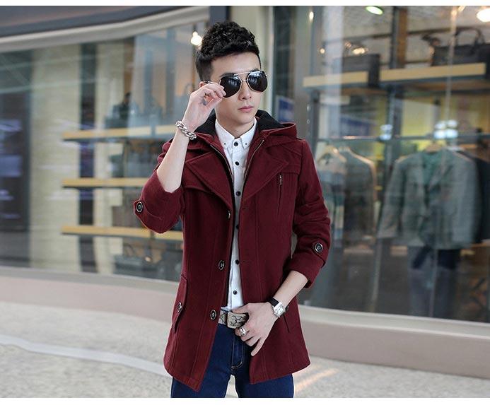 เสื้อกันหนาวผู้ชาย เสื้อแจ็คเก็ตผู้ชายมีฮู้ด ถอดได้ สีไวน์แดง มาพร้อมเข็มขัด