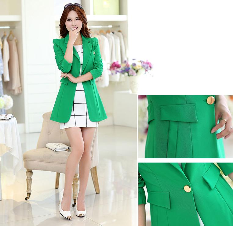 เสื้อสูทแฟชั่น เสื้อสูทผู้หญิง สีเขียว ตัวยาวคลุมสะโพก แต่งสายคาดเอวด้านหลัง