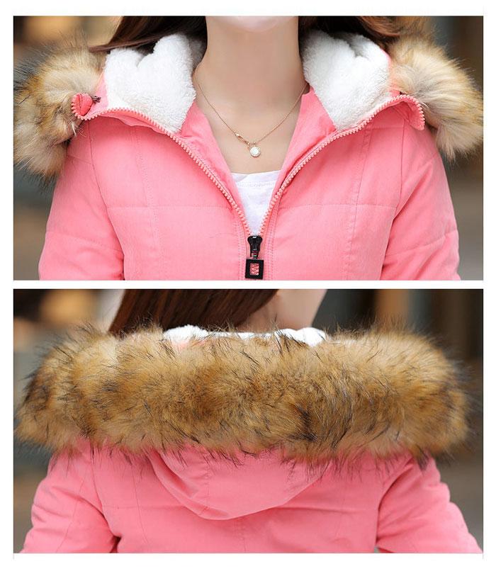 เสื้อกันหนาวผู้หญิงแฟชั่นเกาหลี สีส้ม แจ็คเก็ตมีเฟอร์ขนสัตว์ รอบฮู้ด แบบถอดได้ ใส่ลุยหิมะ สวยๆ