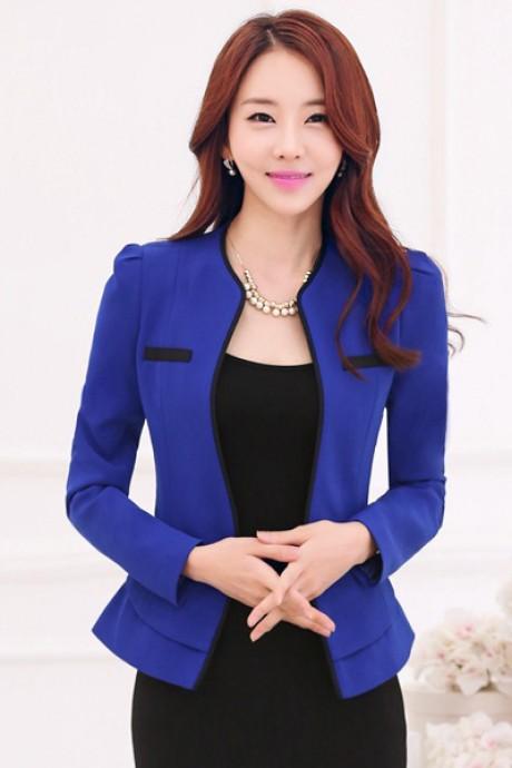 (สินค้าหมด) เสื้อสูทแฟชั่น เสื้อสูทผู้หญิง สีน้ำเงิน แขนยาว แต่งขลิบสีดำ