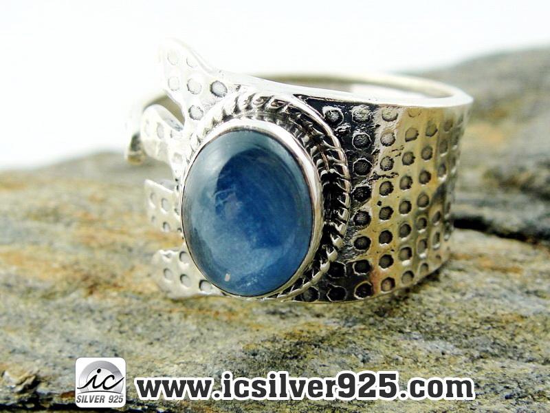 ▽ไคยาไนต์ Kyanite แหวนเงินแท้ 925 (แหวนเบอร์ : 55 , 3.4g )