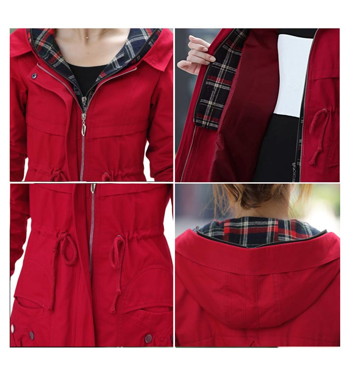 เสื้อกันหนาวผู้หญิงแฟชั่นเกาหลี สีแดง แจ็คเก็ตกันลมฮู้ดลายสก๊อต