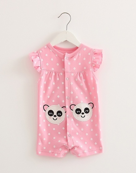 ชุดทารก Romper (3-6m) ลายจุดสีชมพู พิมพ์ลายหมีแพนด้าน้อยน่ารัก