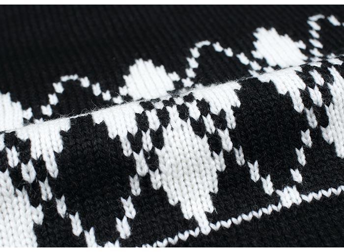 เสื้อไหมพรมแฟชั่นกันหนาว เสื้อสเวตเตอร์ สีดำ คอกลม แขนยาว ดีไซน์ลายกราฟิก เท่ๆ