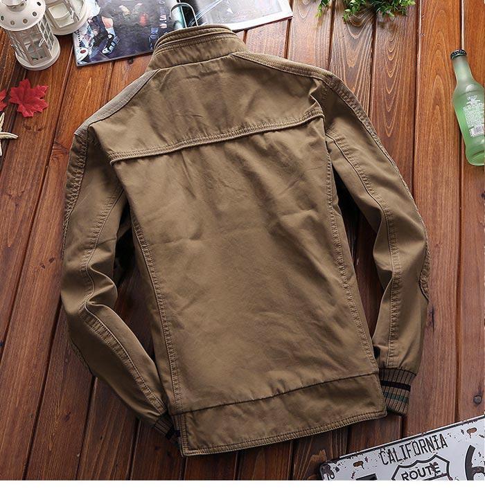 เสื้อแจ็คเก็ตผู้ชายคอปีน เสื้อกันหนาวผู้ชาย สีเขียวทหาร เท่ๆ จั้มข้อมือ และเอว