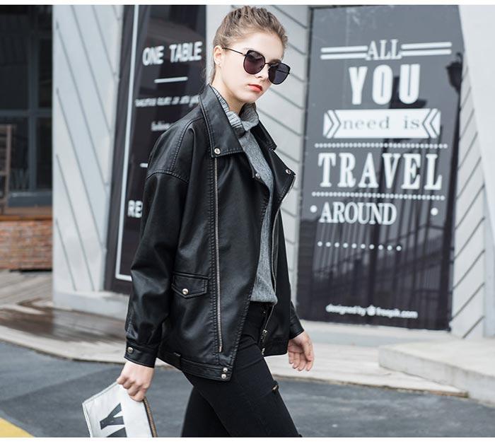 เสื้อแจ็คเก็ตหนังผู้หญิง แฟชั่นเกาหลี สีดำ แจ็คเก็ตหนัง PU คอปก แนว Oversize เท่ๆ