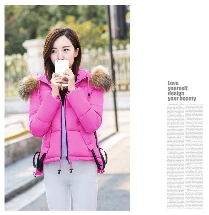 เสื้อกันหนาวผู้หญิงแฟชั่นเกาหลี สีชมพูอมม่วง แจ็คเก็ตมีฮู้ด พร้อมเฟอร์ขนสัตว์ ชายเสื้อเล่นระดับ ดีไซน์เก๋ๆ