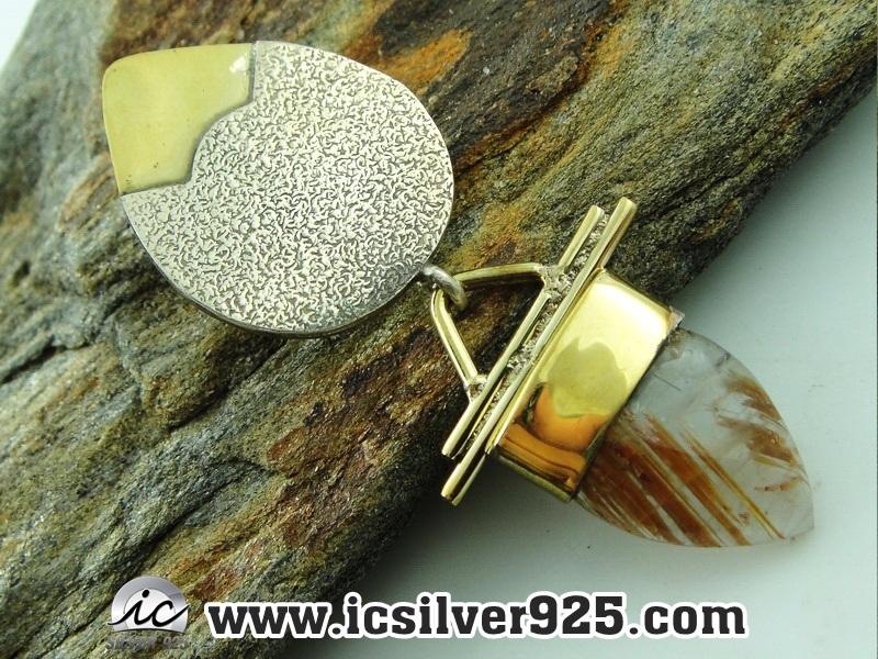 ▽ไหมทอง Golden Rutile-จี้เงินแท้ 925 (6.8g)