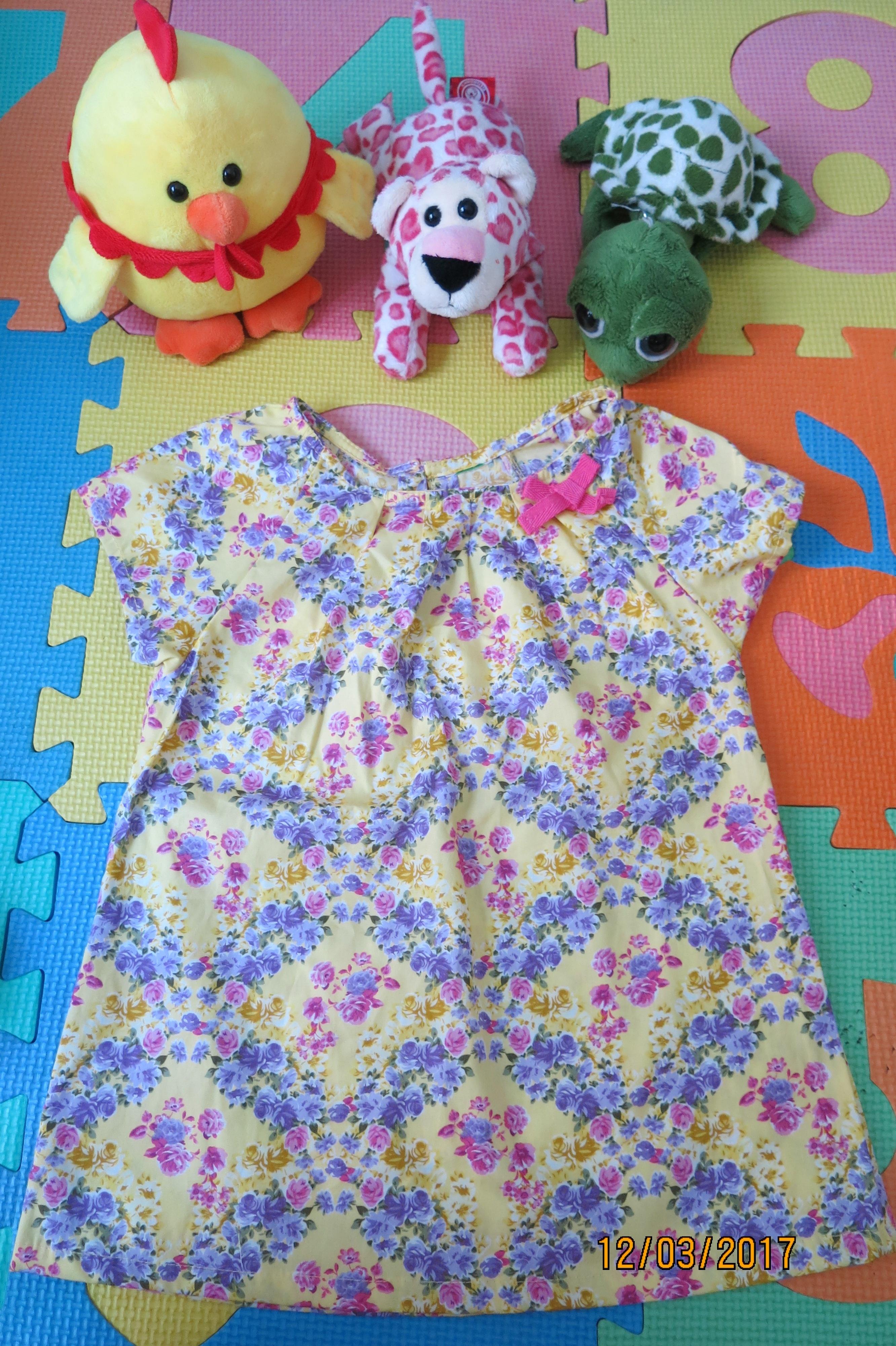 เสื้อเด็ก D2 (3-4 ขวบ) ลายดอกไม้สีเหลือง-ม่วง