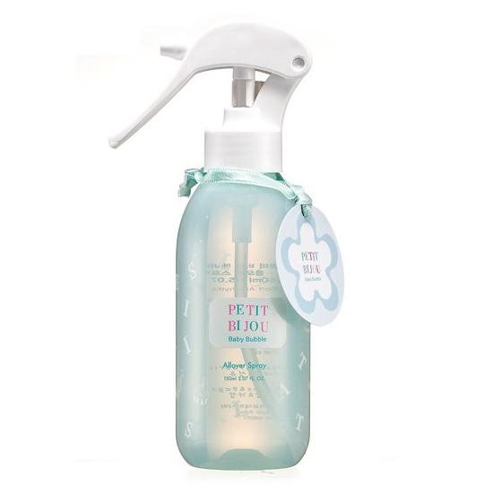 พร้อมส่ง Etude House Petit Bijou Baby Bubble Allover Spray 150ml. สเปรย์น้ำหอมฉีดผิวกาย กลิ่น baby bubble กลิ่นหอมสบู่เหมือนเพิ่งอาบน้ำเสร็จใหม่ๆ เย็นสดชื่น สามารถฉีดได้ตามทุกที่ที่ต้องการ เหมาะสำหรับทุกโอกาส