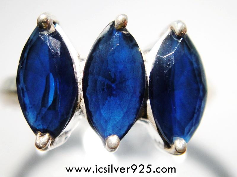▽ไอโอไลท์ (Iolite) แหวนเงินแท้ 925 (แหวนเบอร์ : 52)