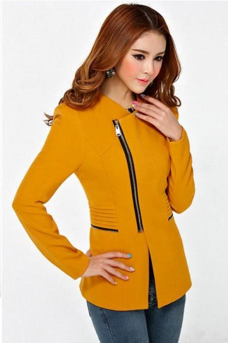 เสื้อสูทแฟชั่น เสื้อสูทผู้หญิง สีเหลือง แบบซิปรูด ทรงเข้ารูป