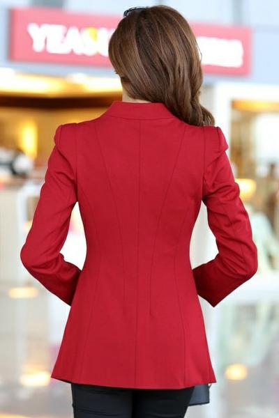 เสื้อสูทแฟชั่น เสื้อสูทผู้หญิง สีแดง แบบซิปรูด ดีไซน์คอป้าย