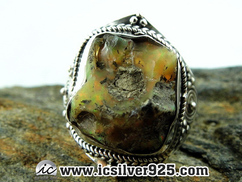 ▽โอปอล (Opal)เอธิโอเปีย แหวนเงินแท้ 925 (แหวนเบอร์ : 58 , 6g)