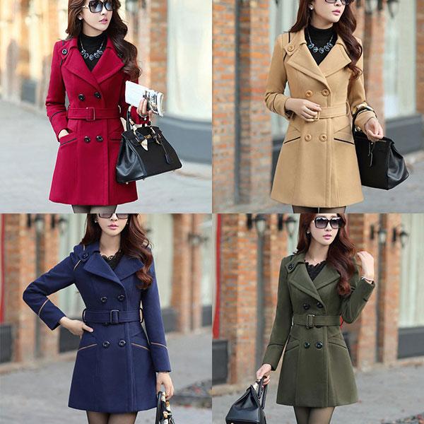 เสื้อโค้ทกันหนาวผู้หญิง สีกรม คอปก ตัวยาวคลุมสะโพก มีเข็มขัด