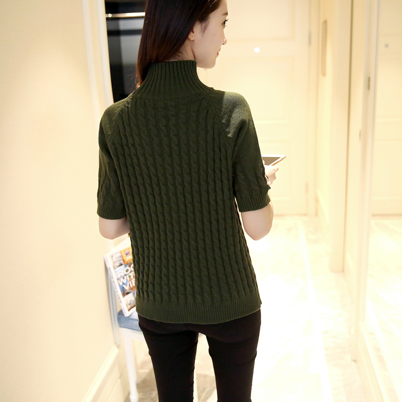 เสื้อไหมพรมแฟชั่นกันหนาว เสื้อสเวตเตอร์ สีเขียว แขนสั้น ดีเทลลายถักลูกโซ่ทั้งตัว น่ารักๆ