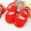 รองเท้าผ้าแต่งระบายลูกไม้ด้านหน้า (สีแดง)