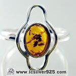 อำพัน Amber - แหวนหูเงินแท้ 925 (ขนาดแหวนเบอร์ : 57 ,2.2g)