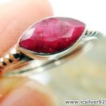 ทับทิม Indian Ruby- แหวนเงินแท้ 925 (แหวนเบอร์ : 52 ,2.4g)