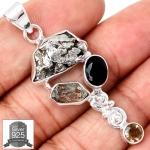 ▽จี้เงินแท้ 925 - Meteorite Campo Del Cielo & Herkimer Diamond