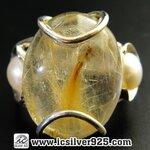 ▽ไหมทอง+ไข่มุก Golden Rutile+Pearl แหวนเงินแท้ 925 (แหวนเบอร์ 55, 6.1g)
