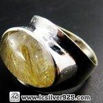 ▽ไหมทอง(Golden Rutile) แหวนเงินแท้ 925 (แหวนเบอร์ 59, 7.1g)