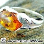 ▽อำพัน Amber - แหวนเงินแท้ 925 (ขนาดแหวนเบอร์ : 55 , 2.81g)
