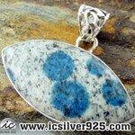 ▽K2 Blue (Azurite In Quartz) จี้เงินแท้ 925 (6.8g)