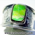 ▽แอมโมไลต์จากแคนาดา Canadian Ammolite แหวนเงินแท้ 925 (แหวนเบอร์ : 58, 4.8g)