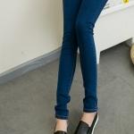เลคกิ้งคนท้อง P28 สี dark blue jean มีผ้าพยุงครรภ์และสายปรับเอว ราคาส่ง 490 บาท