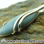 ▽แอนเจิลไลท์ - Angelite stone จี้เงินแท้ 925 (5.4g)
