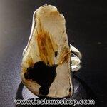 ไหมทอง/ฮีมาไทท์ (Golden Rutile/Hematite) แหวนเงินแท้ 925 (แหวนเบอร์ 52, 6.4g)