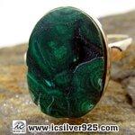 ▽มาลาไคต์ Malachite In Chrysocolla- Congo-แหวนเงินแท้ 925 -(size 6) 4.8g