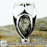 ▽สะเก็ดดาวโมดาไวท์ MOLDAVITE -แหวนเงินแท้ 925 (ขนาดแหวนเบอร์ : 57, 3.3g)