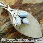 ▽สะเก็ดดาว Libyan Desert Glass & Fire Opal (สังเคราะห์)จี้เงินแท้ 925 (11g)